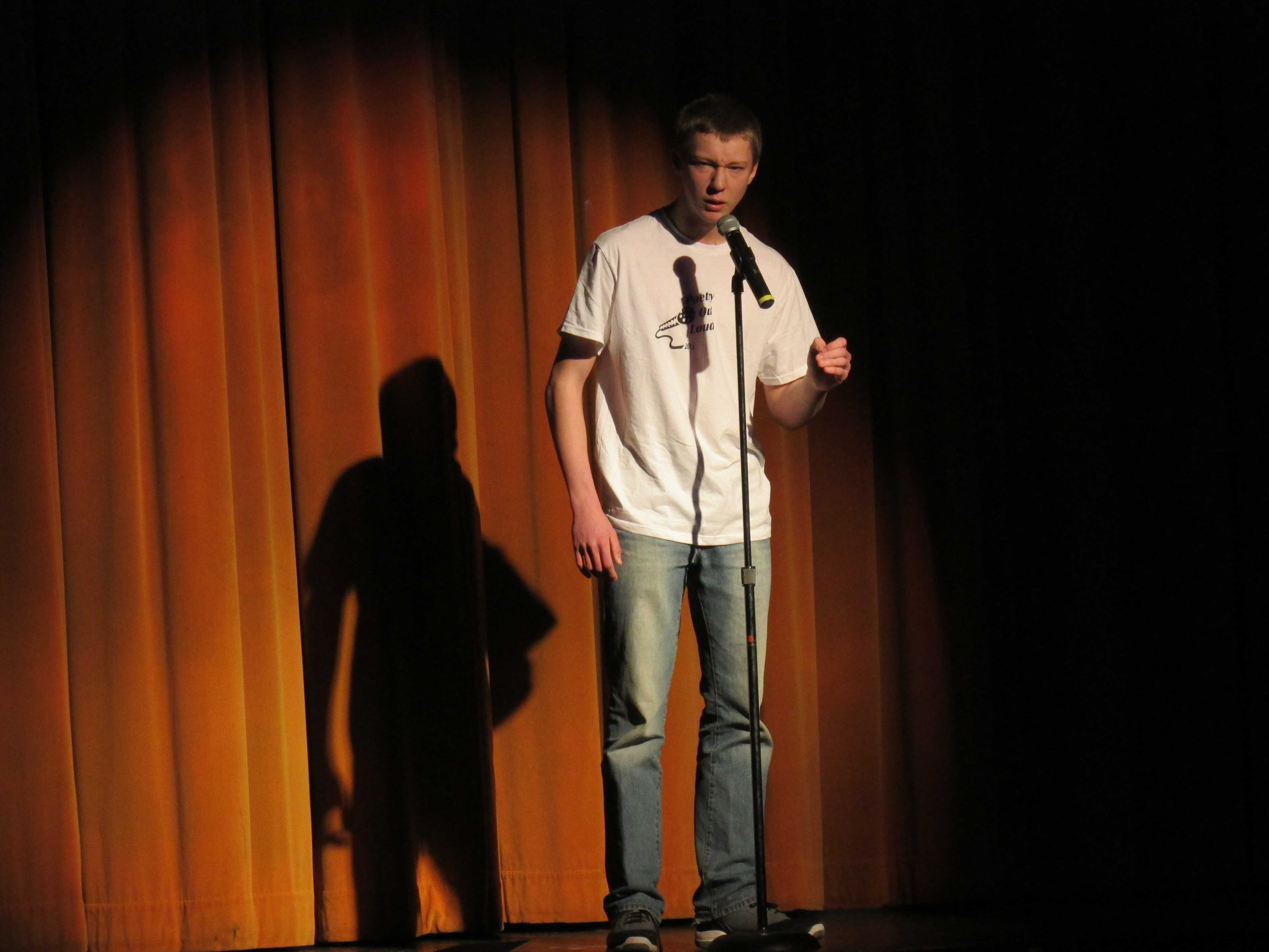 Eli Phelps the winner of Poetry Out Loud recites his poem