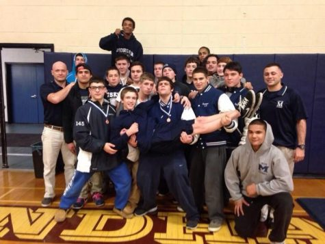 Morgan Husky Wrestlers after a long two days at the Class S States.