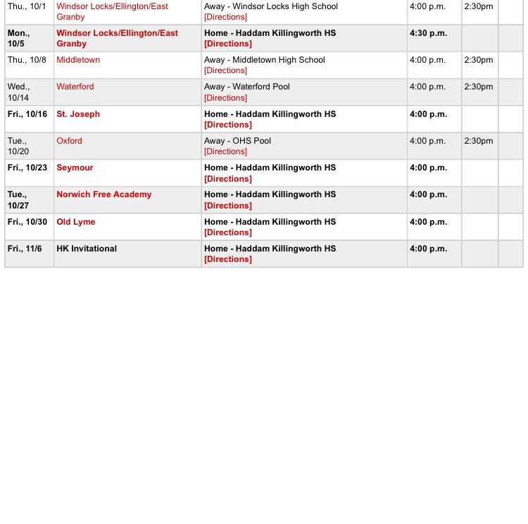 Swim Schedule