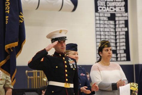 A veteran saluting