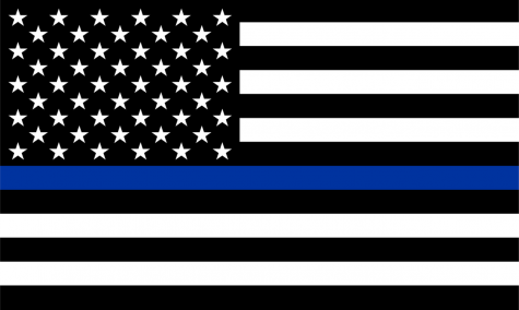 A black and white american flag with a blue line in the middle; titles the thin blue line flag