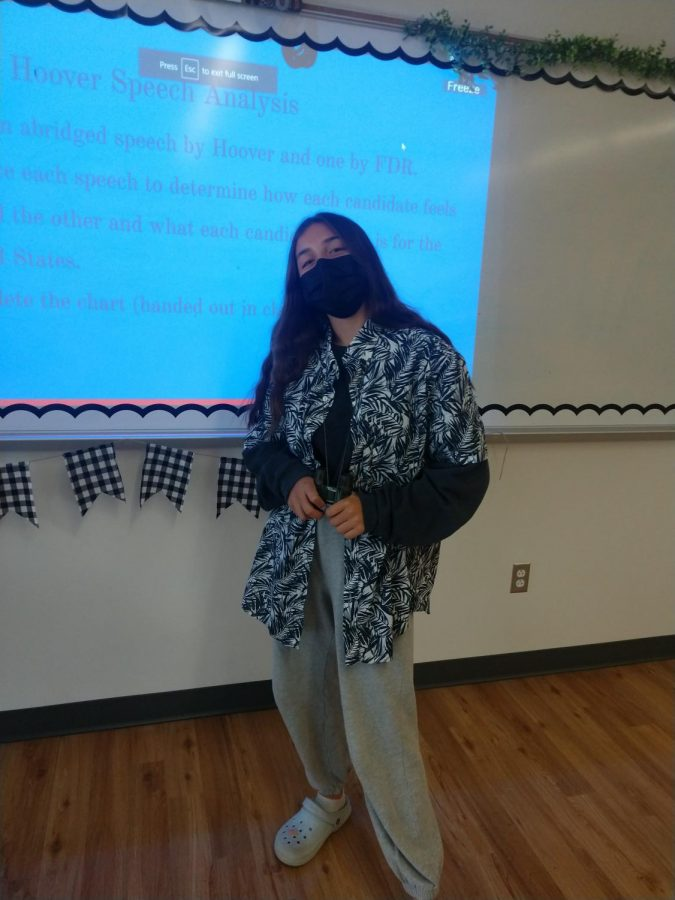 A student dressed as a tacky tourist in the classroom!