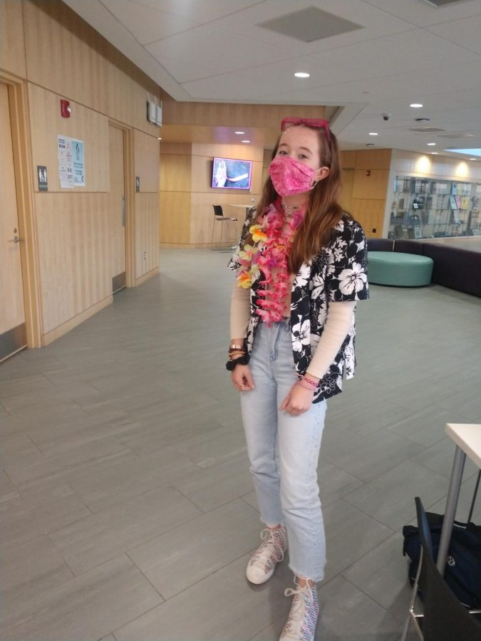 A student dressed as a tacky tourist at lunch!