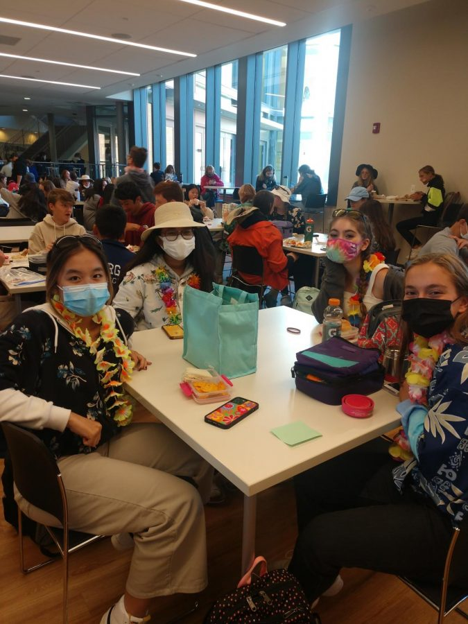 Students dressed as a tacky tourist at lunch!